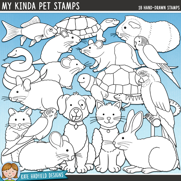 My Kinda Pet Digital Stamps - animal digital scrapbook elements / cute pet clip art! Hand-drawn doodles and illustrations for digital scrapbooking, crafting and teaching resources from Kate Hadfield Designs.