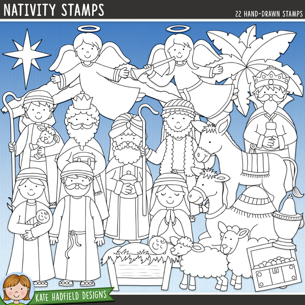 Outlined versions of my Nativity doodles, this stamp pack contains the same doodles in three different formats: black outline png, black outline filled with white png (as shown in the preview) and a new bolder outline version for working on a smaller scale. Digital stamps are perfect for creating colouring sheets, cards and other hybrid projects as well as for stamping on your digital scrapbooking pages!A collection of Nativity doodles that are perfect for adding a touch of hand-drawn whimsy to your your layouts and projects! Contains the following hand-drawn doodles: 2 angels, baby Jesus in manger, empty manger, camel, donkey, gold, frankincense, myrrh, sheep, lamb, Mary with baby Jesus, Joseph, 2 shepherds, stable, star, tree and 3 wise men. (Average size of figures: 6 inches tall). FOR PERSONAL & EDUCATIONAL USE (please see my Terms of Use for more information)