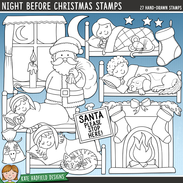 Outline versions of my Night Before Christmas doodles, this stamp pack contains the same doodles in three different formats: black outline png, black outline filled with white png (as shown in the preview) and a new bolder outline version for working on a smaller scale. Digital stamps are perfect for creating colouring sheets, cards and other hybrid projects as well as for stamping on your digital scrapbooking pages!Night Before Christmas celebrates that magical pre-Christmas excitement of that night when 'not a creature was stirring, not even a mouse!' Contains the following Christmas Eve doodles: candle, cat, plate of cookies, dog, fireplace, glass of milk, moon, mouse, pj top and bottoms, bag of reindeer food, Santa with sack, Santa please stop here! sign, 4 sleeping boys in their beds, 4 sleeping girls in their beds, stars, 2 stockings, thought bubble, window and zzzz.FOR PERSONAL & EDUCATIONAL USE (please see myTerms of Usefor more information)