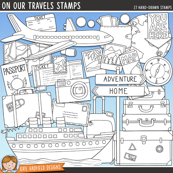 Outlined versions of my On Our Travels doodles, this stamp pack contains the same doodles in three different formats: black outline png, black outline filled with white png (as shown in the preview) and a new bolder outline version for working on a smaller scale. Digital stamps are perfect for creating colouring sheets, cards and other hybrid projects as well as for stamping on your digital scrapbooking pages!	Whether you are a seasoned explorer or an armchair traveller, On Our Travels is packed with travel and vacation themed doodles to help you document all your travel memories, dreams and wishes!	Contains the following hand drawn doodles: airmail letter, 2 cameras, 3 coins, compass (+ blank version with no lettering), 2 globes, luggage tag, 2 maps (one open, one folded, + blank versions with no lettering), passport (+ blank version with no lettering), plane, 2 Polaroid pictures, postcard, cruise ship, signpost (+ blank version with no lettering), stamp, stack of 3 suitcases, 2 individual suitcases, open suitcase, 2 tickets (+ blank version with no lettering), travel guide book (+ blank version with no lettering), trunk, wallet and You are here arrow (+ blank version with no lettering). FOR PERSONAL & EDUCATIONAL USE (please see my Terms of Use for more information)