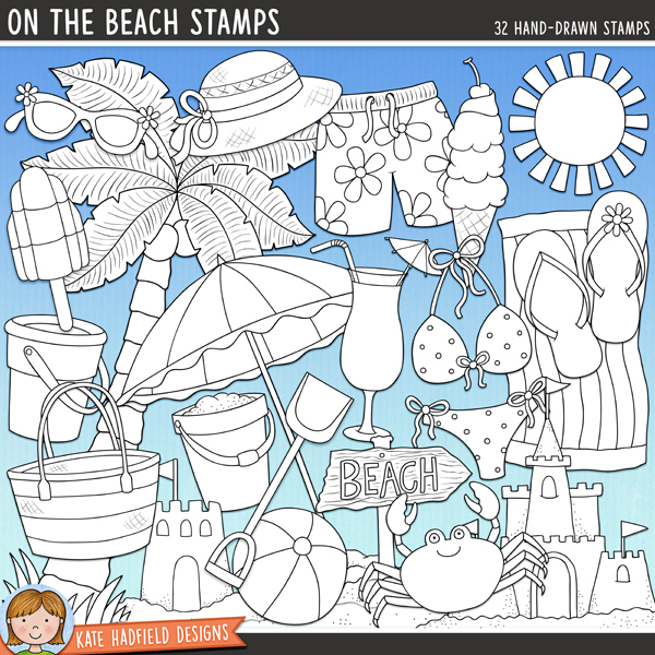 Outlined versions of my On The Beach doodles, this stamp pack contains the same doodles in three different formats: black outline png, black outline filled with white png (as shown in the preview) and a new bolder outline version for working on a smaller scale. Digital stamps are perfect for creating colouring sheets, cards and other hybrid projects as well as for stamping on your digital scrapbooking pages!Contains the following hand-drawn stamps: beach bag, beach ball, beachscape, beach sign, beach towel, beach umbrella, bikini, 2 buckets, cocktail, crab, 2 flipflops, ice cream cone, 2 ice lollies, palm tree, rake, 2 sandcastles, 2 shells, shorts, spade, 2 starfish, sun, 2 pairs of sunglasses, 2 sunhats and sunscreen.FOR PERSONAL & EDUCATIONAL USE (please see myTerms of Usefor more information)