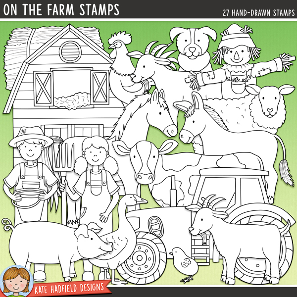 Outline versions of my On The Farm doodles, this stamp pack contains the same doodles in three different formats: black outline png, black outline filled with white png (as shown in the preview) and a new bolder outline version for working on a smaller scale. Digital stamps are perfect for creating colouring sheets, cards and other hybrid projects as well as for your stamping on your digital scrapbooking pages!	The companion pack to my Farmer's Garden doodles, On the Farm focuses on the furry and feathered barnyard friends to be found down on the farm! Perfect for recording memories of farm trips and visits to the petting zoo, On the Farm contains the following hand drawn doodles: barn, cat, chick, cow, donkey, duck, 2 boy and 2 girl farmers, feed bucket, feed sack, goat, goose, hay bale, haystack, hen / chicken, hen house, horse, milk bucket, milk churn, pig, rooster, scarecrow, sheep, sheep dog and tractor.FOR PERSONAL & EDUCATIONAL USE (please see my Terms of Use for more information)