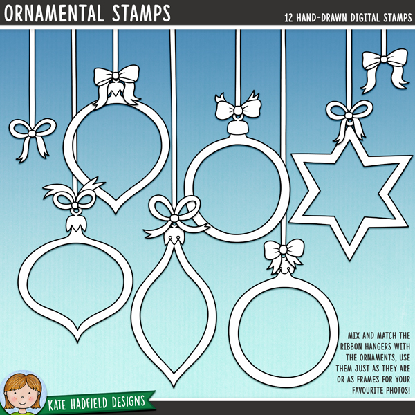 Ornamental Stamps - Set of 6 Christmas bauble frames with matching ribbon hangers! Use as decorative details on your projects, or add your favourite photos and use them as festive frames! Hand-drawn doodles and illustrations for digital scrapbooking, crafting and teaching resources from Kate Hadfield Designs.