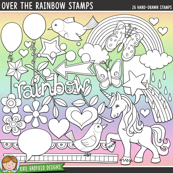 "Outline versions of my Over the Rainbow doodles, this stamp pack contains the same doodles in three different formats: black outline png, black outline filled with white png (as shown in the preview) and a new bolder outline version for working on a smaller scale. Digital stamps are perfect for creating colouring sheets, cards and other hybrid projects as well as for stamping on your digital scrapbooking pages!	Over the Rainbow is packed with happy colours, a hint of 80's kitsch and lots of whimsical elements! Contains the following hand drawn doodles: arrow, 2 balloons, 2 bluebirds, 2 butterflies, 2 doodle strips, multi-coloured dots, 2 flowers, 2 hearts, leafy branch, 3 mini hearts, rainbow, rain, 2 speech bubbles, 2 stars, shooting star, unicorn and ""rainbow"" wordart.FOR PERSONAL & EDUCATIONAL USE (please see my Terms of Use for more information)"