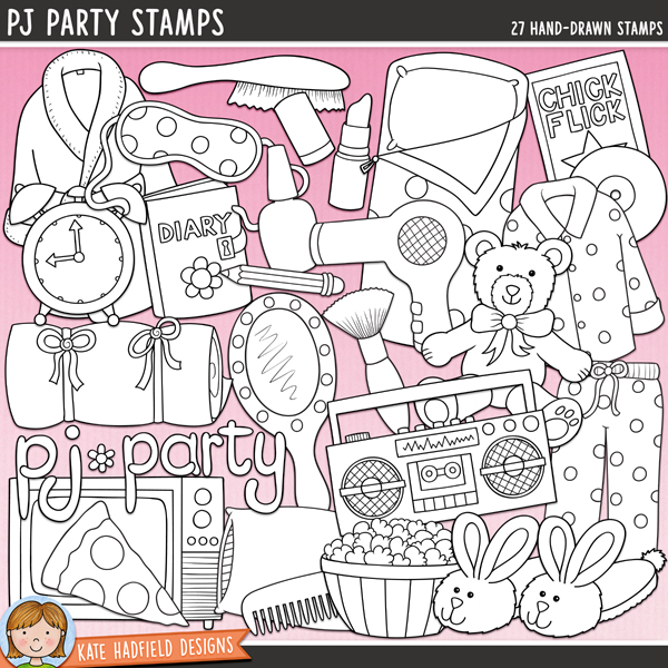 """Outline versions of my PJ Party doodles, this stamp pack contains the same doodles in three different formats: black outline png, black outline filled with white png (as shown in the preview) and a new bolder outline version for working on a smaller scale. Digital stamps are perfect for creating colouring sheets, cards and other hybrid projects as well as for stamping on your digital scrapbooking pages!PJ Party is packed with all sorts of girlie goodies and is perfect for adding a touch of hand drawn whimsy to your slumber party invitations, decorations and layouts! Coordinates with my set of Sleeping Cuties girls in sleeping bags! Contains the following hand drawn doodles: alarm clock, boombox, rabbit slipper, comb, diary and pencil, dressing gown, DVD case and disc, eyemask, hairbrush, hairdryer, lipstick and lid, blusher brush, hand mirror, nail polish, pillow, pizza slice, pyjama top and trousers, bowl of popcorn, sleeping bag, sleeping bag roll, teddy bear, TV and """"pj party"""" wordart. Also contains the following wordy-bits: girls only, girl talk, midnight feast, pillow fight, pj party, sleepover, slumber party, truth or dare, up all night, so to SLEEP!FOR PERSONAL & EDUCATIONAL USE (please see myTerms of Usefor more information)"""