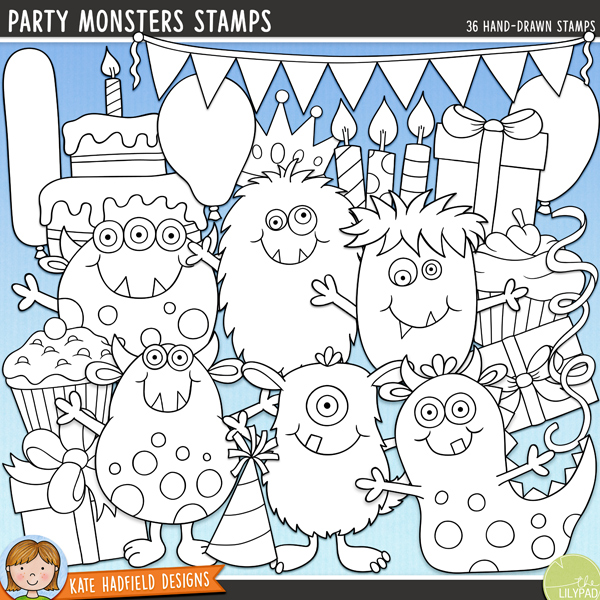 Outline versions of my Party Monsters doodles, this stamp pack contains the same doodles in three different formats: black outline png, black outline filled with white png (as shown in the preview) and a new bolder outline version for working on a smaller scale. Digital stamps are perfect for creating colouring sheets, cards and other hybrid projects as well as for stamping on your digital scrapbooking pages!	Everyone loves a party, especially the Party Monsters! Packed with fun characters and bright colours, Party Monsters is perfect for all your birthday and party themed pages and projects!	Contains the following hand drawn doodles: 3 balloons and 4 balloon strings, birthday cake, bunting, slice of cake, 5 birthday candles, crown, 3 cupcakes, 4 gifts, 5 party hats, 6 cheerful monsters,party! wordart and 4 streamers. Also contains a hand drawn alphabet containing lower case letters, numerals and some punctuation along with 8 painted kraft papers!FOR PERSONAL & EDUCATIONAL USE (please see my Terms of Use for more information)
