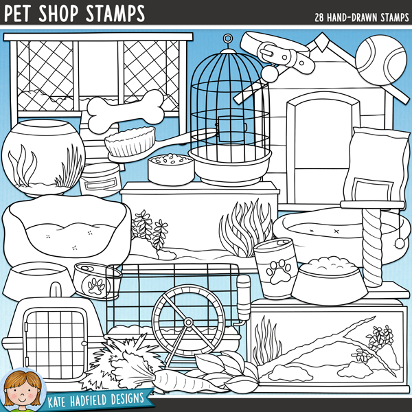 Pet Shop - animal accessories digital stamps! Hand-drawn doodles and illustrations for digital scrapbooking, crafting and teaching resources from Kate Hadfield Designs.
