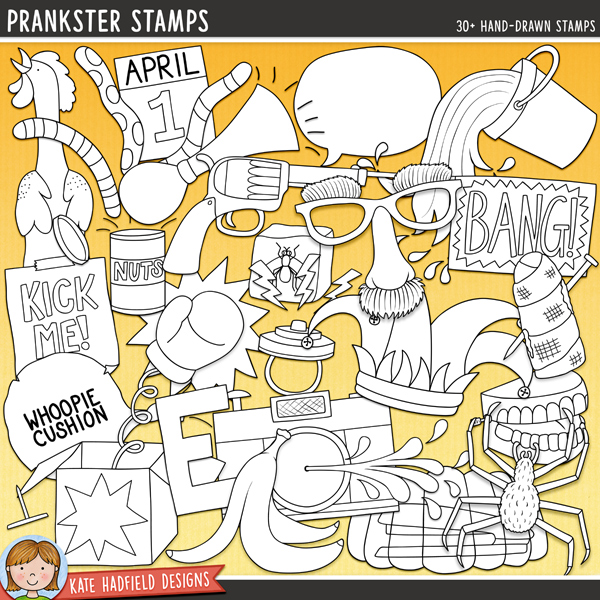 Outlined versions of my Prankster doodles, this stamp pack contains the same doodles in three different formats: black outline png, black outline filled with white png (as shown in the preview) and a new bolder outline version for working on a smaller scale. Digital stamps are perfect for creating colouring sheets, cards and other hybrid projects as well as for stamping on your digital scrapbooking pages!Contains the following hand drawn doodles: April Fool's wordart, arrow headband, banana skin, Bang gun, brown E and e (brownies!), April calendar page, squirty camera, joke can of nuts, clockwork teeth, disguise glasses and nose, exclamation mark, fake spider, finger bandage, Gotcha! wordart, Ha Ha wordart, hand buzzer, horn, fly in ice cube, jester's hat, Kick me sign, laughing wordart, question mark, rubber chicken, 3 speech bubbles, stapler in jelly / jello, star burst, surprise box with boxing glove, tack, vanishing ink, falling bucket of water and whoopie cushion.FOR PERSONAL & EDUCATIONAL USE (please see myTerms of Usefor more information)