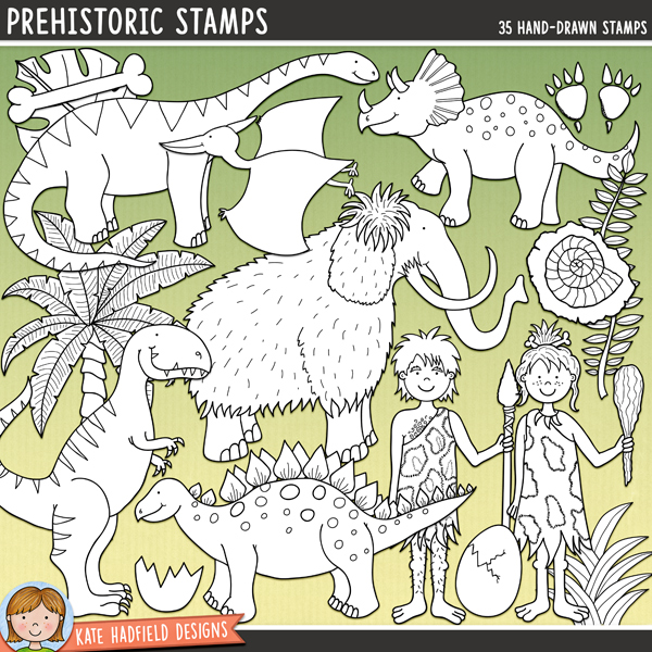 Outlined versions of my Prehistoric doodles, this stamp pack contains the same doodles in three different formats: black outline png, black outline filled with white png (as shown in the preview) and a new bolder outline version for working on a smaller scale. Digital stamps are perfect for creating colouring sheets, cards and other hybrid projects as well as for stamping on your digital scrapbooking pages!	Contains the following hand drawn stamps: Ankylosaurus, 2 bones, branch, cavegirl, caveman, club, Diplodocus, 2 eggs, broken egg shell, campfire, 2 sets of dino footprints, 3 fossils, 2 clumps of grass, leaf, Woolly Mammoth, palm tree, Pterodactyl, 2 rocks, dino skeleton, Stegosaurus, T-Rex, Triceratops, vine, volcano with smoke, stone wheel and the following word art pieces: chomp, Rawr! and Stomp!FOR PERSONAL & EDUCATIONAL USE (please see my Terms of Use for more information)