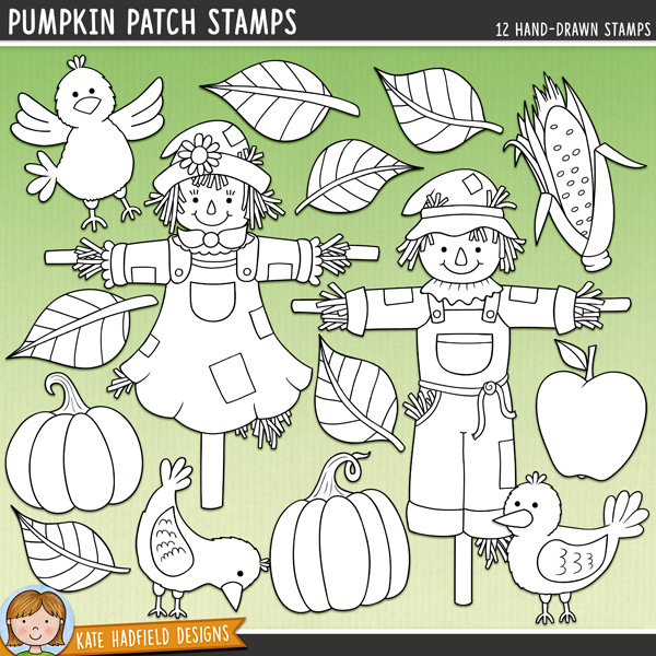 Outline versions of my Pumpkin Patch doodles, this stamp pack contains the same doodles in three different formats: black outline png, black outline filled with white png (as shown in the preview) and a new bolder outline version for working on a smaller scale. Digital stamps are perfect for creating colouring sheets, cards and other hybrid projects as well as for stamping on your digital scrapbooking pages!A little mini set of scarecrows (who aren't at all scary!) and their fearless crow friends! Contains the following hand drawn doodles: apple, corn, 3 crows, 3 leaves, 2 pumpkins and 2 scarecrows.FOR PERSONAL & EDUCATIONAL USE (please see myTerms of Usefor more information)