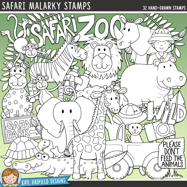 Outline versions of my Safari Malarky doodles, this stamp pack contains the same doodles in three different formats: black outline png, black outline filled with white png (as shown in the preview) and a new bolder outline version for working on a smaller scale. Digital stamps are perfect for creating colouring sheets, cards and other hybrid projects as well as for stamping on your digital scrapbooking pages!Safari Malarky is a fun set of hand drawn wild animal themed doodles, perfect for recording trips to the zoo, safari parks or even real African safari adventures! Contains the following hand-drawn illustrations: binoculars, camera, crocodile, Don't feed the animals sign, elephant, 2 explorer girls and 2 explorer boys, giraffe, hippo, safari hut, jeep, 3 leaves, leopard, lion, meerkat, 2 monkeys, safari park sign, 2 pith helmets, rhino, snake, tortoise, tree, zebra and the following word-art doodles: Safari, Wild and Zoo.FOR PERSONAL & EDUCATIONAL USE (please see myTerms of Usefor more information)