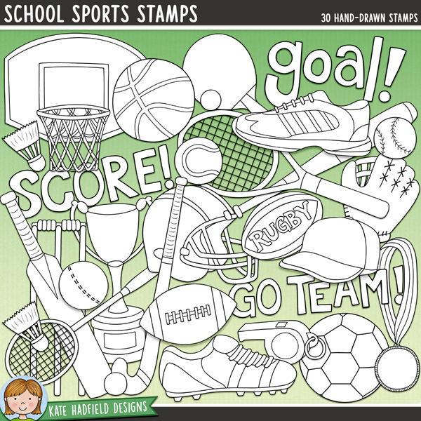Outline versions of my School Sports doodles,this stamp pack contains the same doodles in three different formats: black outline png, black outline filled with white png (as shown in the preview) and a new bolder outline version for working on a smaller scale. Digital stamps are perfect for creating colouring sheets, cards and other hybrid projects as well as for stamping on your digital scrapbooking pages!Calling all sports fans! School Sports is a fun collection of doodles dedicated to all the sports fanatics out there! Whatever sport is your passion - from soccer to tennis, baseball to cricket - these doodles are sure to add a touch of hand-drawn fun to your pages and projects! Includes the following hand-drawn doodles: badminton racket and shuttlecock; baseball ball, bat, cap and mitt; basketball ball, hoop and shoe; cricket ball, bat and wicket; football ball and helmet; hockey stick and ball; medal; rugby ball; soccer ball, shoe and whistle; table tennis bat and ball; tennis racket and ball; training shoe; trophy and the following wordart pieces: 'goal!', 'go team!' and 'score!'FOR PERSONAL & EDUCATIONAL USE (please see myTerms of Usefor more information)