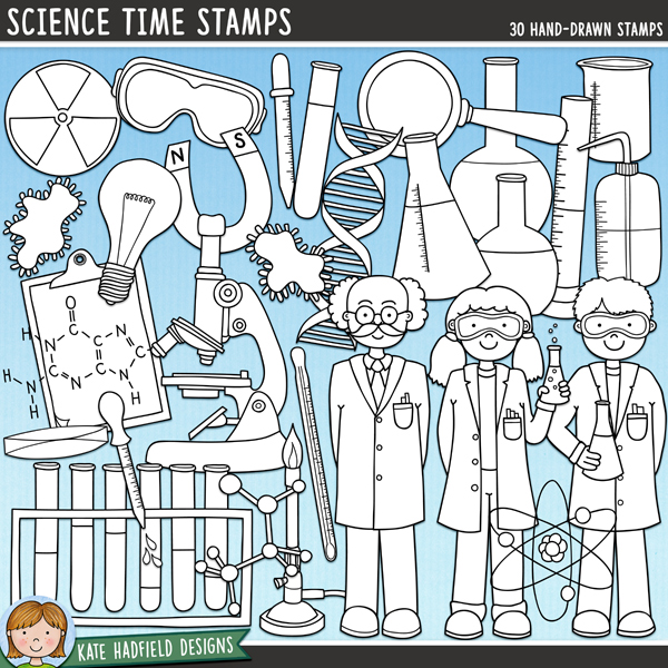 Outlined versions of my Science Time doodles, this stamp pack contains the same doodles in three different formats: black outline png, black outline filled with white png (as shown in the preview) and a new bolder outline version for working on a smaller scale. Digital stamps are perfect for creating colouring sheets, cards and other hybrid projects as well as for stamping on your digital scrapbooking pages!Contains the following hand drawn stamps: atom, beaker, boy, girl, professor, bunsen burner, chemical diagram, clipboard, DNA double helix, 4 flasks, goggles, light bulb, magnet, magnifying glass, 2 microbes, microscope, molecule, petri dish, 2 pipettes, radiation symbol, 2 test tubes, test tube rack, thermometer and water bottle.FOR PERSONAL & EDUCATIONAL USE (please see myTerms of Usefor more information)