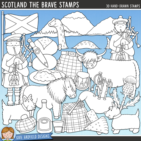 Outline versions of my Scotland the Brave doodles, this stamp pack contains the same doodles in three different formats: black outline png, black outline filled with white png (as shown in the preview) and a new bolder outline version for working on a smaller scale. Digital stamps are perfect for creating colouring sheets, cards and other hybrid projects as well as for stamping on your digital scrapbooking pages!A collection of doodles celebrating bonnie Scotland! Contains the following hand-drawn illustrations: bagpipes; piper face; 2 Saltire flags; 2 haggises; haggis, neeps and tatties on a plate; highland cow; 4 kilts; mountains and loch; Loch Ness Monster (Nessie); 2 bagpipers (each supplied in two different hair and skin tones for a total of 4 character illustrations); scotch whisky bottle and glass; Scotland wordart; 2 Scottish Terrier dogs; sgian knife; Shetland pony; 2 pieces of Scottish shortbread; sporran; 2 tam-o-shanter hats; thistle.FOR PERSONAL & EDUCATIONAL USE (please see myTerms of Usefor more information)