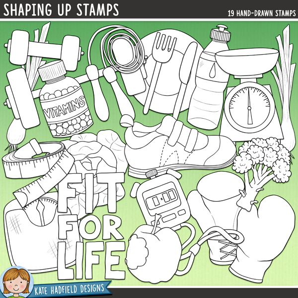 Outlined versions of myShaping Up doodles,this stamp pack contains the same doodles in three different formats: black outline png, black outline filled with white png (as shown in the preview) and a new bolder outline version for working on a smaller scale. Digital stamps are perfect for creating colouring sheets, cards and other hybrid projects as well as for stamping on your digital scrapbooking pages!This pack was inspired by all those New Year's resolutions to eat healthily and exercise more! Shaping Up contains the following hand drawn doodles: apple, bathroom scales, 2 boxing gloves, broccoli, Fit for life wordart, hand weight, kitchen scales, knife and fork, lettuce, plate, skipping rope, spring onion, stopwatch, tape measure, training shoe, vitamin bottle, water bottle and weights.FOR PERSONAL & EDUCATIONAL USE (please see myTerms of Usefor more information)