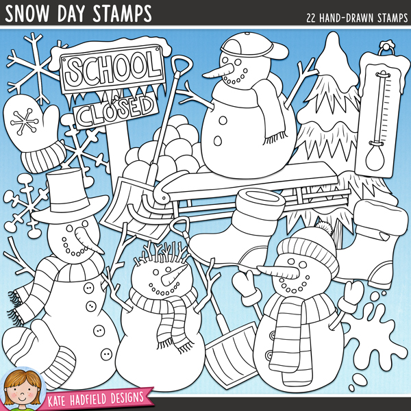 Outline versions of my Snow Day doodles, this stamp pack contains the same doodles in three different formats: black outline png, black outline filled with white png (as shown in the preview) and a new bolder outline version for working on a smaller scale. Digital stamps are perfect for creating colouring sheets, cards and other hybrid projects as well as for stamping on your digital scrapbooking pages!	Inspired by the recent snap of freezing weather here (and my children's first ever Snow Days off school!) this pack contains the following hand-drawn doodles: 2 snow boots, 2 mittens, School Closed sign (in two colours), snow shovel (in two colours), sledge, 2 snowballs in mid-flight, pile of snowballs, 2 snowflakes, 5 snowmen, pipe, snow splat, thermometer and snowy tree.FOR PERSONAL & EDUCATIONAL USE (please see my Terms of Use for more information)