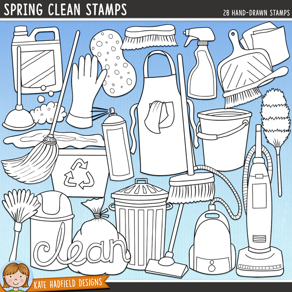 Outlined versions of my Spring Clean doodles, this stamp pack contains the same doodles in three different formats: black outline png, black outline filled with white png (as shown in the preview) and a new bolder outline version for working on a smaller scale. Digital stamps are perfect for creating colouring sheets, cards and other hybrid projects as well as for stamping on your digital scrapbooking pages!Contains the following hand drawn stamps: air freshener spray, apron, bin, bin bag, bottle of detergent, broom, bubble, bucket, cleaning cloth, dustbin, dustpan and brush, 2 feather dusters, mop, plunger, puddle, recycling box, rubber glove, scrubbing brush, 2 sparkles, sponge, spray bottle, 2 piles of soapy bubbles, 2 vacuum cleaners, clean and fresh wordart and the following wordy-bit word strips: and, clean, dust, fresh, mop, polish, scrub, sparkling, spotless, spring, squeaky, sweep, tidy and vacuum.FOR PERSONAL & EDUCATIONAL USE (please see myTerms of Usefor more information)