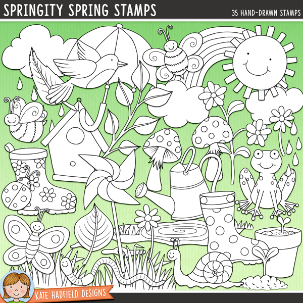 Outlined versions of my Springity Spring doodles, this stamp pack contains the same doodles in three different formats: black outline png, black outline filled with white png (as shown in the preview) and a new bolder outline version for working on a smaller scale. Digital stamps are perfect for creating colouring sheets, cards and other hybrid projects as well as for your stamping on your digital scrapbooking pages!	Bursting with fun colours and lots of springtime goodness, Springity Spring contains the following hand drawn and coloured doodles: 2 bumblebees, bird, birdhouse, butterfly, 2 clouds, 2 daisies, rain drops, flower, flowerpot, frog, 2 clumps of grass, ladybird, 2 leaves, sprig of leaves, 2 mushrooms, pinwheel, 2 puddles, rainbow, 2 seedlings, snail, splash, sun, 2 umbrellas, watering can, 2 wellington boots and 1 wriggly worm!FOR PERSONAL & EDUCATIONAL USE (please see my Terms of Use for more information)
