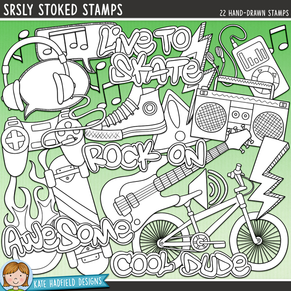 Outline versions of my Srsly Stoked doodles,this stamp pack contains the same doodles in three different formats: black outline png, black outline filled with white png (as shown in the preview) and a new bolder outline version for working on a smaller scale. Digital stamps are perfect for creating colouring sheets, cards and other hybrid projects as well as for stamping on your digital scrapbooking pages!Inspired by my teen and pre-teen boys and their love of music, skateboarding, gaming, bikes and general boyish grunge, Srsly Stoked contains the following hand drawn doodles: 2 12x12 line borders (barbed wire and scribble styles), bike, boombox, danger sign, flames, games controller, guitar, headphones, 2 lightning symbols, mp3 player, musical notes, scribbled arrow, scribbled block, scribbled chevron, scribbled circles, shoe, skateboard, 2 speech bubbles, volume sign and the following word art words: awesome, cool dude, live to skate / skate to live, rock on.FOR PERSONAL & EDUCATIONAL USE (please see myTerms of Usefor more information)