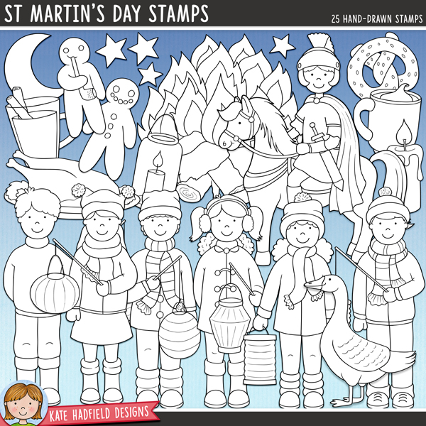 Line art versions of my St Martin's Day doodles, this stamp pack contains the same doodles in three different formats: black outline png, black outline filled with white png (as shown in the preview) and a new bolder outline version for working on a smaller scale. Digital stamps are perfect for creating colouring sheets, cards and other hybrid projects as well as for stamping on your digital scrapbooking pages!A celebration of St. Martin's Day / Martinstag that's full of warming drinks, roaring bonfires and children parading with their glowing lanterns! Contains the following hand-drawn illustrations: bonfire, 3 boys with lanterns, 3 girls with lanterns, Martinsbrezel, candle, 4 lanterns,  lantern holder, goose, mug of hot chocolate, 2 moons (crescent and full), glass of mulled wine and steam, roast goose, 3 stars, St. Martin on horseback (versions in two different skin tones included) and 2 Weckmänner.	FOR PERSONAL / LIMITED S4H USE (please see my Terms of Use for more information)