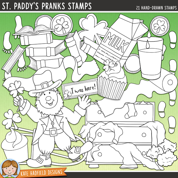 Outlined versions of my St. Paddy's Pranks doodles, this stamp pack contains the same doodles in three different formats: black outline png, black outline filled with white png (as shown in the preview) and a new bolder outline version for working on a smaller scale. Digital stamps are perfect for creating colouring sheets, cards and other hybrid projects as well as for stamping on your digital scrapbooking pages!Contains the following hand drawn stamps: messy chest of drawers, 2 chocolate coins, 2 chocolate gold coins in wrappers, shamrock cookie, green cupcake, rainbow cupcake, 2 sets of leprechaun footprints, gold nuggets and sparkle, glass and carton of green milk, dancing leprechaun, messy pile of books, leprechaun I was here! note, shamrock, 2 messy rolls of toilet paper, 2 upturned chairs and the following word strips: gold, gotcha, leprechaun, mess, mischief, pinch, prank and trick.FOR PERSONAL & EDUCATIONAL USE (please see myTerms of Usefor more information)