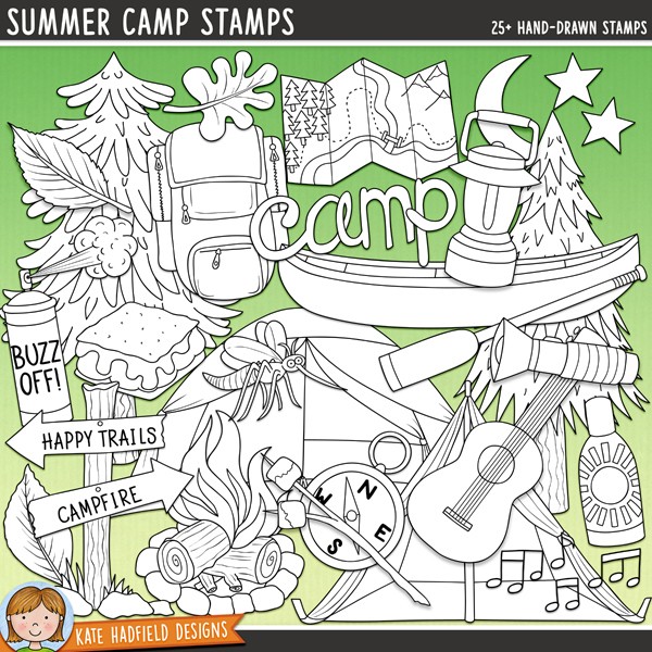 Outlined versions of my Summer Camp doodles, this stamp pack contains the same doodles in three different formats: black outline png, black outline filled with white png (as shown in the preview) and a new bolder outline version for working on a smaller scale. Digital stamps are perfect for creating colouring sheets, cards and other hybrid projects as well as for stamping on your digital scrapbooking pages!	Hiking the nature trails, kayaking in the lakes, singing songs around the campfire, toasting marshmallows and making s'mores are all part of the rich experience of camping! This doodle pack celebrates the fun (and the bugs!) of summer camp! Contains the following hand-drawn doodles: backpack, bug spray, campfire, canoe and oar, compass, guitar, lantern, 3 leaves, map, bag of marshmallows, marshmallows on a stick, moon and stars, mosquito, musical notes, sign, s'mores, bottle of sunblock, 2 tents, torch, 2 trees, camp, Summer Camp and Happy Camper wordart pieces.FOR PERSONAL & EDUCATIONAL USE (please see my Terms of Use for more information)