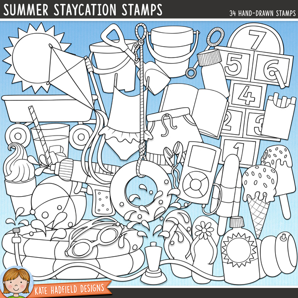Outline versions of my Summer Staycation doodles, this stamp pack contains the same doodles in three different formats: black outline png, black outline filled with white png (as shown in the preview) and a new bolder outline version for working on a smaller scale. Digital stamps are perfect for creating colouring sheets, cards and other hybrid projects as well as for stamping on your digital scrapbooking pages!Summer Staycation is packed full of all the fun things that a summer at home brings: from chalking on sidewalks to splashing in the pool or running through the water sprinkler! Contains the following hand drawn illustrations: armband, ball, open book, bubble pot and wand(versions with and without text included), 2 buckets, 2 spades, iced drink, 2 pairs of flip flops, swimming goggles, hopscotch, hose, 2 ice creams, 2 ice lollies (popsicles), kite, MP3 player, paddling pool, box of sidewalk chalk, 2 water splashes, slip and slide, sprinkler, sun, sunscreen bottle (versions with and without text included), swimming shorts, swimsuit, tyre swing, wagon and water pistol.FOR PERSONAL & EDUCATIONAL USE (please see myTerms of Usefor more information)