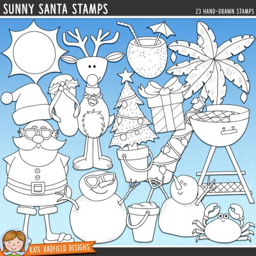 Sunny Santa Stamps