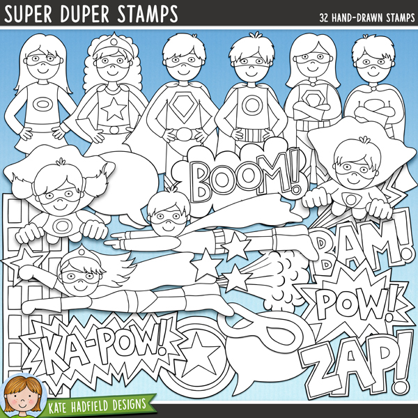 Outlined versions of my Super Duper doodles, Super Duper Stamps contains the same doodles in three different formats: black outline png, black outline filled with white png (as shown in the preview) and a new bolder outline version for working on a smaller scale. Digital stamps are perfect for creating colouring sheets, cards and other hybrid projects as well as for stamping on your digital scrapbooking pages!	Contains the following hand drawn stamps: arrow, Bam! wordart, Boom! wordart, 5 boy superheroes (3 standing, 2 flying), 4 buildings, 2 burst doodles, circle, eye mask, 5 girl superheroes (3 standing, 2 flying), Ka-Pow! wordart, lightning, Pow! wordart, shield doodle, 2 speech bubbles, 4 stars, 1 whoosh doodle and Zap! wordart. Each super hero boy and girl is supplied in versions with and without hairi detail.FOR PERSONAL & EDUCATIONAL USE (please see my Terms of Use for more information)