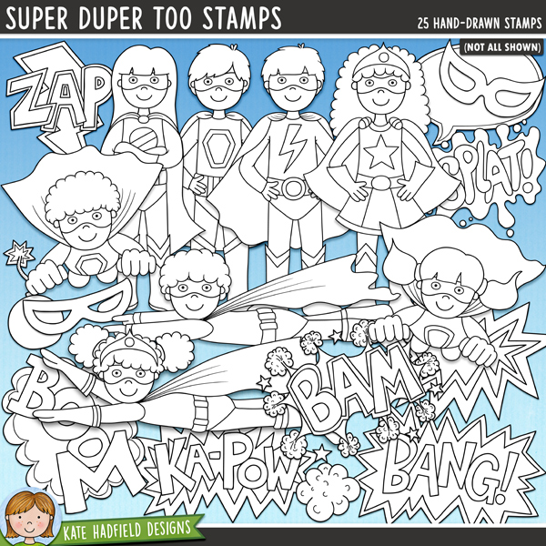 Outlined versions of my Super Duper Too doodles, Super Duper Too Stamps contains the same doodles in three different formats: black outline png, black outline filled with white png (as shown in the preview) and a new bolder outline version for working on a smaller scale. Digital stamps are perfect for creating colouring sheets, cards and other hybrid projects as well as for stamping on your digital scrapbooking pages! Contains the following hand drawn stamps: Bam wordart, Bang! wordart, comic style blank star burst, bomb, Boom wordart, 4 boy superheroes (2 standing, 2 flying), cloud, dust cloud, 4 girl superheroes (2 standing, 2 flying), Ka-Pow wordart, 2 hero masks, 2 speech bubbles, Splat! wordart, Super wordart, 2 thought bubbles and Zap wordart.FOR PERSONAL & EDUCATIONAL USE (please see my Terms of Use for more information)