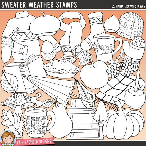 Line art versions of my Sweater Weather doodles, this stamp pack contains the same doodles in three different formats: black outline png, black outline filled with white png (as shown in the preview) and a new bolder outline version for working on a smaller scale. Digital stamps are perfect for creating colouring sheets, cards and other hybrid projects as well as for stamping on your digital scrapbooking pages!A doodle pack celebrating the cosy crispness of those early autumn days - the changing colours, wearing your favourite sweater again and snuggling up with a blanket, hot drink and a good book while the leaves fall outside. Ahhh, bliss! Sweater Weather contains the following hand-drawn illustrations: 4 acorns, apple, beret, blackberries, blanket, open book, woolly hat, 3 leaves, mitten, 2 mugs and steam, 3 mushrooms, 2 nuts, pear, pie, pumpkin, scarf, sock, stack of books, sweater / jumper, toffee apple, umbrella	FOR PERSONAL / LIMITED S4H USE (please see my Terms of Use for more information)