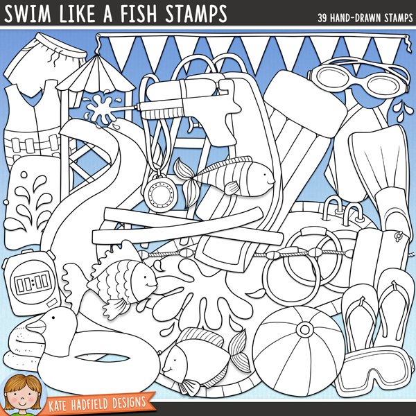 Outlined versions of my Swim Like a Fish doodles, this stamp pack contains the same doodles in three different formats: black outline png, black outline filled with white png (as shown in the preview) and a new bolder outline version for working on a smaller scale. Digital stamps are perfect for creating colouring sheets, cards and other hybrid projects as well as for stamping on your digital scrapbooking pages!Contains the following hand drawn stamps: armband, beach ball, 3 diving weights, duck rubber ring, 3 fish, bunting flags, flip flip, flipper, float, goggles, lane divider, lilo, mask, medal, 2 pool noodles, paddling pool, swimming pool, rubber ring, swim shorts, slide, snorkel, 4 water splashes / drops, stopwatch, sunscreen bottle, swim jacket, swimming costume, towel, water pistol, waterslide, 2 waves.FOR PERSONAL & EDUCATIONAL USE (please see myTerms of Usefor more information)