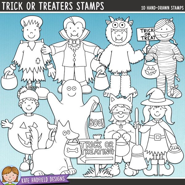 Outline versions of my Trick or Treaters doodles, this stamp pack contains the same doodles in three different formats: black outline png, black outline filled with white png (as shown in the preview) and a new bolder outline version for working on a smaller scale. Digital stamps are perfect for creating colouring sheets, cards and other hybrid projects as well as for stamping on your digital scrapbooking pages!A collection of cute little kiddos, all dressed up ready for some Halloween trick or treating fun! Contains 8 kids in costume and one dog in costume! Perfect for your Halloween pages, invitations and decorations, Trick or Treaters contains the following hand drawn illustrations: cat, Frankenstein's monster, ghost (versions with and without the boo text on the bag are included), dog dressed as ghost, monster (includes versions with and without text on the sign), mummy, pumpkin, vampire, witch and trick or treating sign (also includes blank sign).FOR PERSONAL & EDUCATIONAL USE (please see myTerms of Usefor more information)
