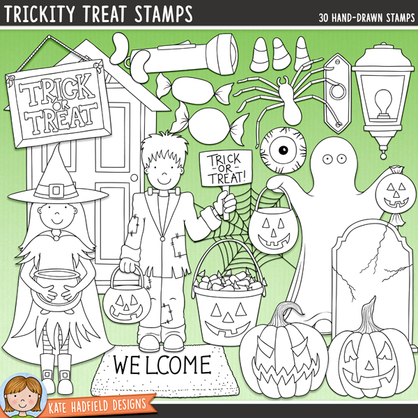 Outline versions of my Trickity Treat doodles, this stamp pack contains the same doodles in three different formats: black outline png, black outline filled with white png (as shown in the preview) and a new bolder outline version for working on a smaller scale. Digital stamps are perfect for creating colouring sheets, cards and other hybrid projects as well as for stamping on your digital scrapbooking pages!Inspired by my kids' Halloween Trick-or-Treating adventures, Trickity Treat is full of treats, with maybe just the odd trick thrown in too! Perfect for recording all your Halloween memories and for creating fun invitations and decorations, Trickity Treat contains the following hand drawn doodles: 2 trick or treat buckets, 3 candy corn pieces, cobweb, 2 doors, doorbell, eyeball candy, 3 trick or treaters (Frankenstein's monster, ghost and witch), 3 jellybeans, plastic spider, porch light, 3 jack-o-lantern pumpkins, pumpkin lolly, steps, 3 wrapped sweeties, 5 sweets, 2 toffee apples, 2 tombstones, torch / flashlight, Trick or Treat sign, welcome mat.FOR PERSONAL & EDUCATIONAL USE (please see myTerms of Usefor more information)