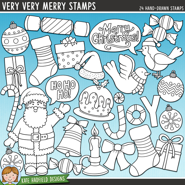 Outline versions of my Very Very Merry doodles, this stamp pack contains the same doodles in three different formats: black outline png, black outline filled with white png (as shown in the preview) and a new bolder outline version for working on a smaller scale. Perfect for creating colouring sheets, cards and other hybrid projects as well as for your stamping on your digital scrapbooking pages!	Very Very Merry is a colourful mix of Christmas characters and is part of the December BYOC collection! Contains the following hand drawn doodles: 3 baubles, bell, bow, candle, candy cane, cracker, dove, 3 gifts, Ho ho ho! speech bubble, joy wordart, Merry Christmas! speech bubble, Christmas pudding, robin, Santa, Santa hat, 2 stockings and 2 sweeties.FOR PERSONAL & EDUCATIONAL USE (please see my Terms of Use for more information)