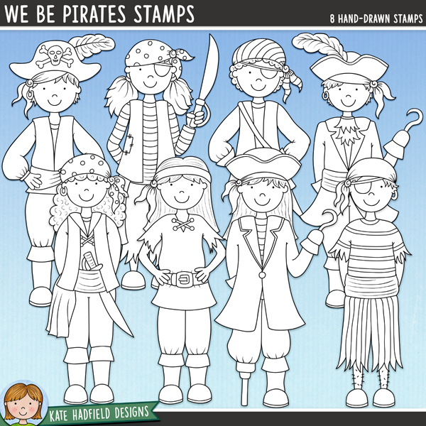 Avast me hearties! Here be some pirate mateys for ye! A hand drawn collection of pirate character stamps, contains 4 boy pirates and 4 girl pirates! Outlined versions of my We Be Pirates doodles, this stamp pack contains the same doodles in three different formats: black outline png, black outline filled with white png (as shown in the preview) and a new bolder outline version for working on a smaller scale. Digital stamps are perfect for creating colouring sheets, cards and other hybrid projects as well as for stamping on your digital scrapbooking pages!FOR PERSONAL & EDUCATIONAL USE (please see my Terms of Use for more information)