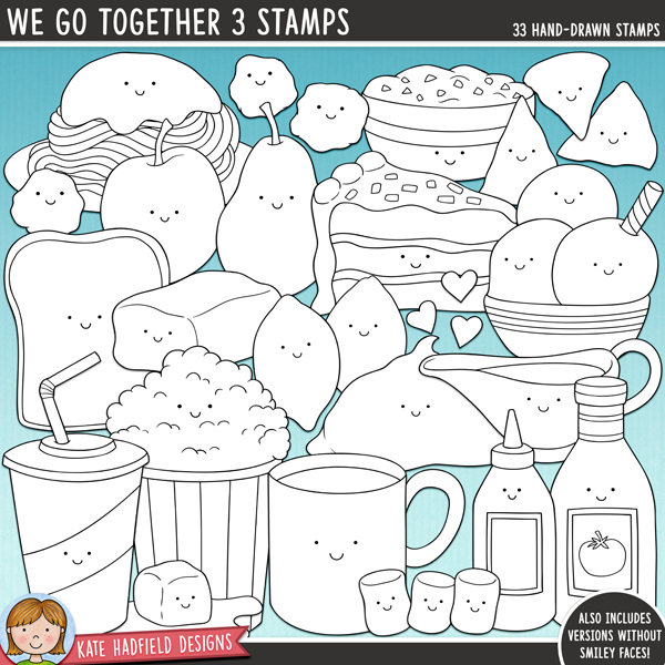 Outlined versions of my We Go Together 3 doodles, this stamp pack contains the same doodles in three different formats: black outline png, black outline filled with white png (as shown in the preview) and a new bolder outline version for working on a smaller scale. Digital stamps are perfect for creating colouring sheets, cards and other hybrid projects as well as for stamping on your digital scrapbook pages!The third in my range of food pairs illustrations, We Go Together 3 is a collection of fun food characters that go together to make perfect pairs! Fun for Valentine's projects as well as everyday layouts, this pack contains the following hand-drawn illustrations: apple and pear, bread and butter (three butter illustrations included), cake and ice cream, gravy and mashed potato (and extra gravy drip!), pink hearts, red hearts, hot chocolate and marshmallows (3), ketchup and mustard, spaghetti and 3 meatballs (includes spaghetti sauce as a separate illustration), popcorn and soda, salsa dip and tortilla chips (3).Also includes the same illustrations without the smiley faces!FOR PERSONAL & EDUCATIONAL USE (please see myTerms of Usefor more information)