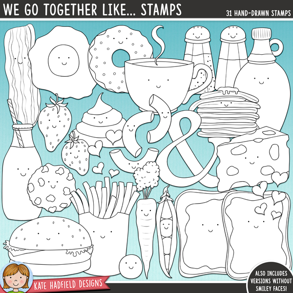 Outlined versions of my We To Together Like... doodles, this stamp pack contains the same doodles in three different formats: black outline png, black outline filled with white png (as shown in the preview) and a new bolder outline version for working on a smaller scale. Digital stamps are perfect for creating colouring sheets, cards and other hybrid projects as well as for stamping on your digital scrapbooking pages!	A collection of fun, cute food characters that go together to make perfect pairs! Fun for Valentine's projects as well as everyday layouts, We Go Together includes the following hand drawn doodles: bacon and eggs, burger and fries, peas and carrots, macaroni and cheese, coffee and donuts, milk and cookies, strawberries and cream, peanut butter and jam / jelly, pancakes and syrup, salt and pepper. Also contains We Go Together wordart, hand written you're the and to my, ampersand and hearts doodles. *NEW* Also includes extra versions without the smiley faces!FOR PERSONAL & EDUCATIONAL USE (please see my Terms of Use for more information)