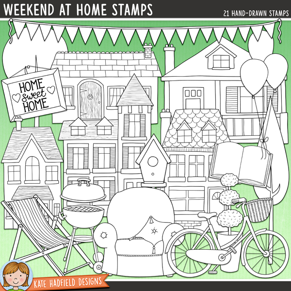 Lazy summer days and relaxing weekends at home with family and friends are what this kit is all about! Outlined versions of my Weekend At Home doodes,this stamp pack contains the same doodles in three different formats: black outline png, black outline filled with white png (as shown in the preview) and a new bolder outline version for working on a smaller scale. Digital stamps are perfect for creating colouring sheets, cards and other hybrid projects as well as for stamping on your digital scrapbooking pages!Contains the following hand-drawn stamps: armchair, balloons, BBQ, bicycle, birdhouse, open book, bunting, deckchair, drink, heart, 5 houses, ice cream cone, lamp, Home Sweet Home picture, play, 2 trees.NB: These stamps are also available in the Weekend At Home BUNDLE! (Weekend at Home kit, doodles and papers are also available separately!)FOR PERSONAL & EDUCATIONAL USE (please see myTerms of Usefor more information)