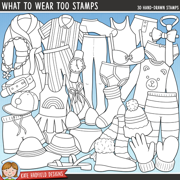Line art versions of my What To Wear Too doodles, this stamp pack contains the same doodles in three different formats: black outline png, black outline filled with white png (as shown in the preview) and a new bolder outline version for working on a smaller scale. Digital stamps are perfect for creating colouring sheets, cards and other hybrid projects as well as for stamping on your digital scrapbooking pages!The companion pack to my What To Wear illustrations, What To Wear Too is full of accessories, underwear and seasonal extras for your digital wardrobe!! Contains the following hand-drawn, coloured illustrations:  belt, bikini, bobble hat and woolly scarf, bow-tie, boxer shorts, bra, baseball cap, dressing gown / robe, glove, pair of knickers / underwear, mitten, necklace, two pairs of pyjamas (two tops, two bottoms), 2 socks, 2 sun hats, swimming costume / swimsuit, swimming trunks, tie, pair of tights / pantyhose, pair of underpants / briefs, vest, watch, sandal and winter boot. What To Wear BIG Bundle (containing all the What To Wear collection) also available!FOR PERSONAL & EDUCATIONAL USE (please see my Terms of Use for more information)