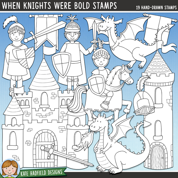 Outlined versions of my When Knights Were Bold doodles, this stamp pack contains the same doodles in three different formats: black outline png, black outline filled with white png (as shown in the preview) and a new bolder outline version for working on a smaller scale. Digital stamps are perfect for creating colouring sheets, cards and other hybrid projects as well as for stamping on your digital scrapbooking pages!	The companion set to my Happily Ever After  fairy tale doodles, When Knights Were Bold is packed with knightly goodies and not-so scary dragons! Contains the following hand drawn doodles: 2 banners, castle, 2 dragons, fire, flag, helmet, horn, horse, 3 knights, row of pennant flags, 2 shields, 2 swords and a castle tower.FOR PERSONAL & EDUCATIONAL USE (please see my Terms of Use for more information)