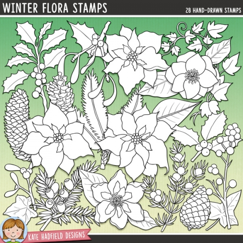 Winter Flora Stamps