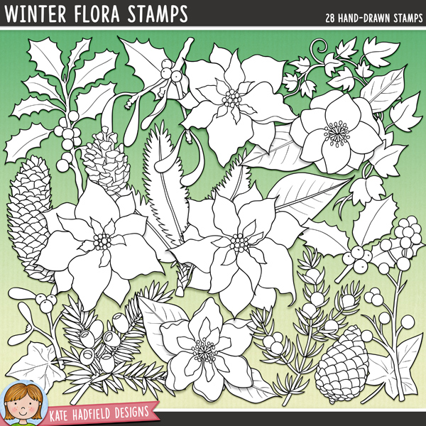 Line art versions of my Winter Flora doodles, this stamp pack contains the same doodles in three different formats: black outline png, black outline filled with white png (as shown in the preview) and a new bolder outline version for working on a smaller scale. Digital stamps are perfect for creating colouring sheets, cards and other hybrid projects as well as for stamping on your digital scrapbooking pages!A festive collection of winter flowers and foliage that's perfect for adding the finishing touch to your Christmas pages and projects! Contains the following hand-drawn illustrations: 2 groups of berries, 2 berry sprigs, 3 Christmas roses, 2 Christmas rose leaves, evergreen sprig, 2 holly leaves, 2 holly sprigs, 3 ivy vines, 2 ivy leaves, juniper sprig, 2 mistletoe sprigs, 3 pine cones, 3 poinsettias and 3 poinsettia leaves. FOR PERSONAL & EDUCATIONAL USE (please see my Terms of Use for more information)