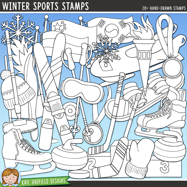 Outlined versions of myWinter Sports doodles, this stamp pack contains the same doodles in three different formats: black outline png, black outline filled with white png (as shown in the preview) and a new bolder outline version for working on a smaller scale. Digital stamps are perfect for creating colouring sheets, cards and other hybrid projects as well as for stamping on your digital scrapbooking pages!Contains the following hand drawn stamps: bobsleigh, Canadian flag, Russian flag, South Korean flag, curling broom and 2 curling stones, figure skate, bobble hat, ice hockey skate, 2 ice hockey pucks, 2 ice hockey sticks, gold, silver and bronze medals (two versions each), red mitten (versions with and without maple leaf), podium, 2 torches, ski, 2 ski gates, ski goggles, ski pole, snowboard and 2 snowflakes.FOR PERSONAL & EDUCATIONAL USE (please see myTerms of Usefor more information)