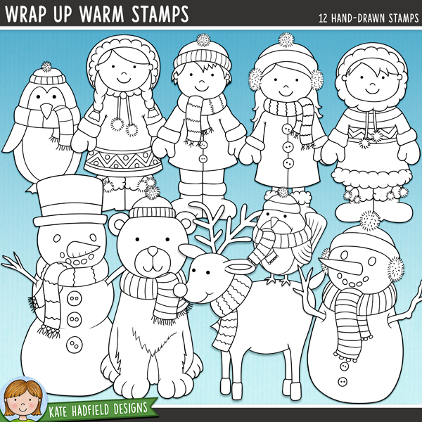 Outline versions of my Wrap Up Warm doodles, this stamp pack contains the same doodles in three different formats: black outline png, black outline filled with white png (as shown in the preview) and a new bolder outline version for working on a smaller scale. Digital stamps are perfect for creating colouring sheets, cards and other hybrid projects as well as for stamping on your digital scrapbooking pages!	 	I love those brisk winter days when everyone is bundled up in hats, scarves and gloves, busying themselves making snowmen and having snowball fights! Wrap Up Warm is full of cheerful characters all wrapped up against the cold weather! Contains the following hand-drawn doodles: polar bear, 2 boys and 2 girls (each boy and girl is supplied in two different skin and hair tones, for a total of 4 boys and 4 girls), mittens, penguin, robin, reindeer, snowy tree and 2 snowmen.	FOR PERSONAL & EDUCATIONAL USE (please see my Terms of Use for more information)