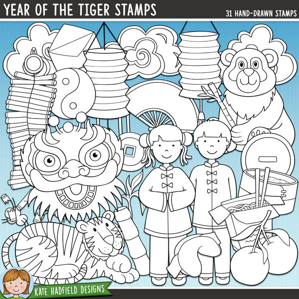 Outline versions of my Year of the Tiger doodles, this stamp pack contains the same doodles in three different formats: black outline png, black outline filled with white png (as shown in the preview) and a new bolder outline version for working on a smaller scale. Digital stamps are perfect for creating colouring sheets, cards and other hybrid projects as well as for stamping on your digital scrapbooking pages!A fun doodle pack to celebrate the Chinese New Year! Contains the following hand drawn doodles: 2 clouds, 2 coins, 2 red envelopes, fan, firecracker and smoke, 2 fortune cookies, 3 lanterns, little boy and little girl, money / gift bag, oranges, panda, steamer, takeout box, teapot and cup, 3 pieces of bamboo, tiger and yin yang sign.	FOR PERSONAL & EDUCATIONAL USE (please see my Terms of Use for more information)