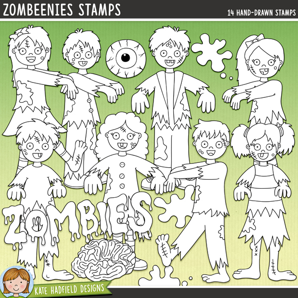 Outline versions of my Zombeenies doodles, this stamp pack contains the same doodles in three different formats: black outline png, black outline filled with white png (as shown in the preview) and a new bolder outline version for working on a smaller scale. Digital stamps are perfect for creating colouring sheets, cards and other hybrid projects as well as for stamping on your digital scrapbooking pages!Zombeenies is the result of a lovely conversation with a special customer about her plans for her kids' Halloween party, and her request for some not scary, cute, doodled zombies with some pink please! Contains the following hand drawn doodles: brain, goo drips, eyeball, 2 goo splats, zombie and zombies wordart and 8 walking zombies (4 boys and 4 girls)FOR PERSONAL & EDUCATIONAL USE (please see myTerms of Usefor more information)