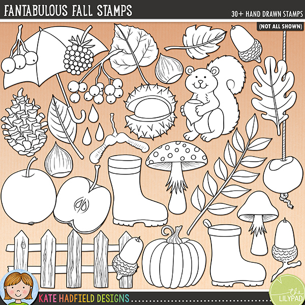 Outline versions of my Fantabulous Fall doodles, this stamp pack contains the same doodles in three different formats: black outline png, black outline filled with white png (as shown in the preview) and a new bolder outline version for working on a smaller scale. Digital stamps are perfect for creating colouring sheets, cards and other hybrid projects as well as for stamping on your digital scrapbooking pages!	Aaaah, autumn - the most beautiful time of year! Celebrate the glory of the season with this pack of hand drawn doodles packed full of autumnal colours! Contains the following hand drawn doodles: 3 acorns, 2 apples, 2 berries, 3 blackberries, 4 conkers, fence, 7 leaves, leafy twig, 2 mushrooms, 2 nuts, pine cone, pumpkin, 2 water splashes, squirrel, sycamore helicopter, twig, 2 welly boots and umbrella. Also contains the following wordy-bit word strips: autumn, colors, colours, crisp, crunchy, fall, falling, fresh, glory, leaf, leaves, nuts.FOR PERSONAL & EDUCATIONAL USE (please see my Terms of Use for more information)