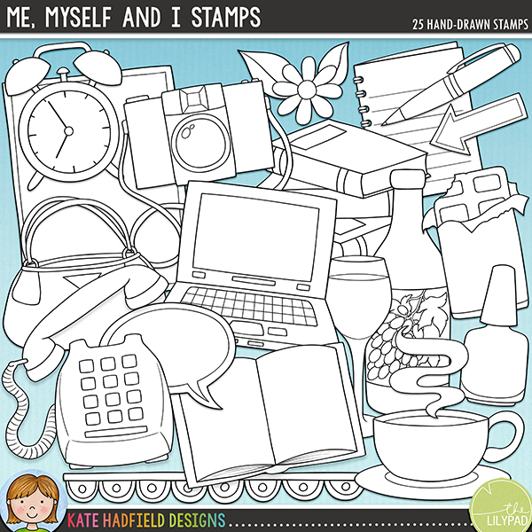 Outline versions of my Me, Myself and I doodles, this stamp pack contains the same doodles in three different formats: black outline png, black outline filled with white png (as shown in the preview) and a new bolder outline version for working on a smaller scale. Digital stamps are perfect for creating colouring sheets, cards and other hybrid projects as well as for stamping on your digital scrapbooking pages!Me, Myself and I is a jam-packed doodle pack designed to help you create beautiful All About Me or Book of Me pages and projects! Celebrate all your favourite things, your blessings and hobbies with these hand drawn doodles! Contains the following illustrations: arrow, bag, open book, pile of books, camera, chocolate, alarm clock, coffee cup, flower and leaves, heart, laptop, nail polish, notebook, pen, telephone, wine bottle and glass.	FOR PERSONAL & EDUCATIONAL USE (please see my Terms of Use for more information)
