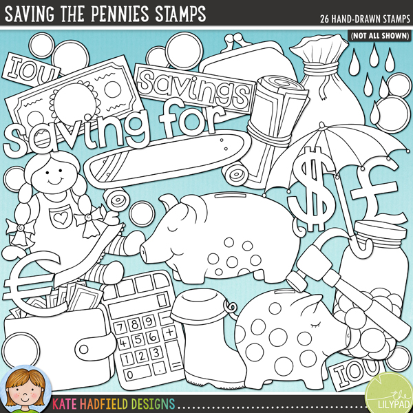 "Outline versions of my Saving the Pennies doodles, this stamp pack contains the same doodles in three different formats: black outline png, black outline filled with white png (as shown in the preview) and a new bolder outline version for working on a smaller scale. Digital stamps are perfect for creating colouring sheets, cards and other hybrid projects as well as for stamping on your digital scrapbooking pages!A fun little doodle pack inspired by my daughter's new piggy bank! This pocket money themed set contains the following hand-drawn doodles: savings account book, ""saving for"" wordart, ""a rainy day"" wordart, banknote, roll of notes, calculator, 3 coins, doll, dollar sign, euro sign, pound sign, hammer, IOU paper slip, jar of coins, money bag (in $, £ and €), 2 piggy banks, coin purse, rain boot / wellington boot, raindrops, savings label, skateboard, umbrella and wallet.FOR PERSONAL & EDUCATIONAL USE (please see my Terms of Use for more information)"